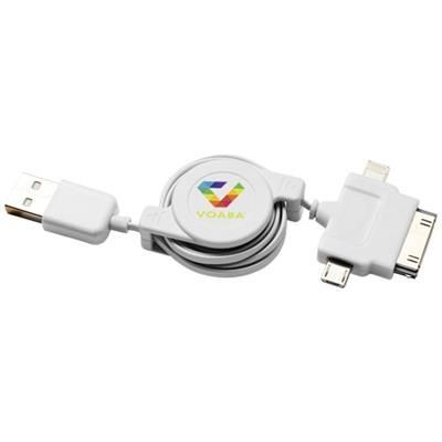 TEATHER 3-IN-1 CHARGER CABLE in White Solid.