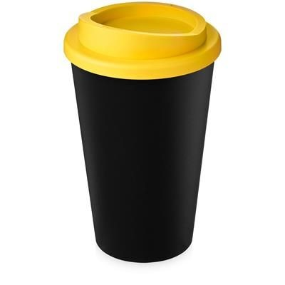 AMERICANO ECO 350 ML RECYCLED TUMBLER in Black Solid & Yellow.