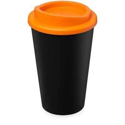 AMERICANO ECO 350 ML RECYCLED TUMBLER in Black Solid & Orange.