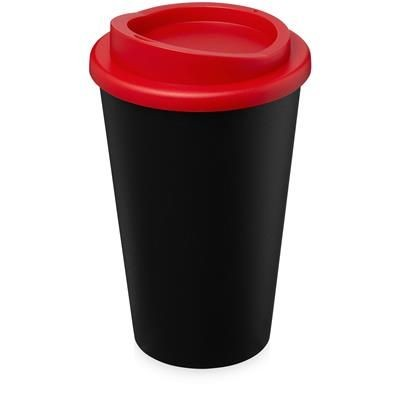 AMERICANO ECO 350 ML RECYCLED TUMBLER in Black Solid & Red.