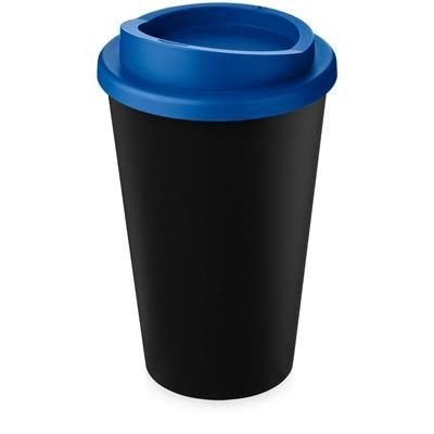 AMERICANO ECO 350 ML RECYCLED TUMBLER in Black Solid & Mid Blue.