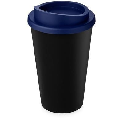AMERICANO ECO 350 ML RECYCLED TUMBLER in Black Solid & Blue.