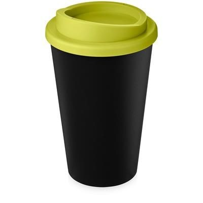 AMERICANO ECO 350 ML RECYCLED TUMBLER in Black Solid & Lime.