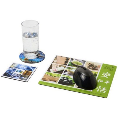Q-MAT® MOUSEMAT AND COASTER SET COMBO 1 in Black Solid.