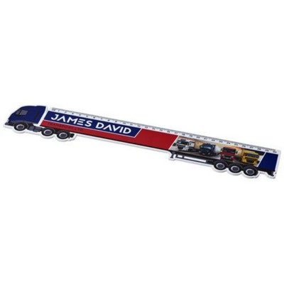 LOKI 30 CM LORRY-SHAPED PLASTIC RULER in White Solid.