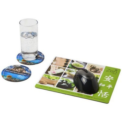 Q-MAT® MOUSEMAT AND COASTER SET COMBO 2 in Black Solid.