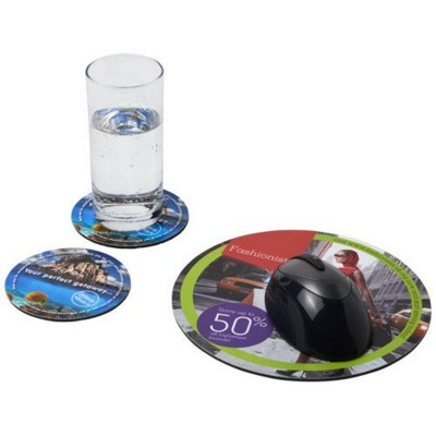 Q-MAT® MOUSEMAT AND COASTER SET COMBO 5 in Black Solid.