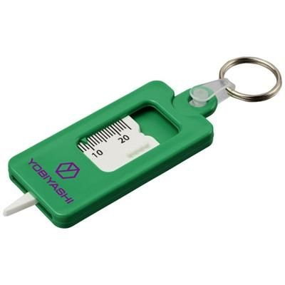 KYM TYRE TREAD CHECK KEYRING CHAIN in Green.