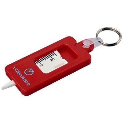KYM TYRE TREAD CHECK KEYRING CHAIN in Red.