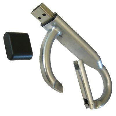 CARABINER METALLIC USB FLASH DRIVE MEMORY STICK.