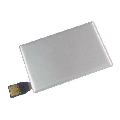 METAL CARD USB FLASH DRIVE MEMORY STICK in Silver.