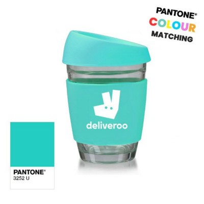 PANTONE MATCHED GLASS COFFEE CUP.
