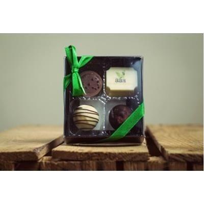 BESPOKE PRINTED BOX OF HANDMADE LUXURY CHOCOLATE.