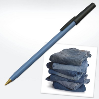 GREEN & GOOD RECYCLED DENIM PEN in Blue.