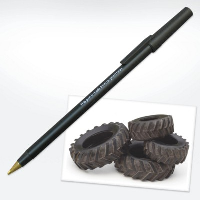 GREEN & GOOD RECYCLED TYRE PEN in Black.