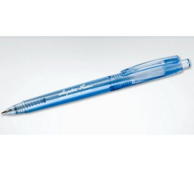 GREEN & GOOD AVON RETRACTABLE BALL PEN in Clear Transparent Blue.