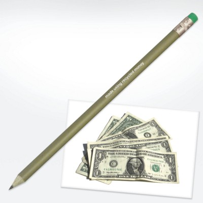 GREEN & GOOD RECYCLED MONEY PENCIL with Eraser in Green.