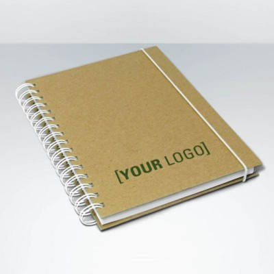 GREEN & GOOD RECYCLED A5 HARDBACK NATURAL SPIRAL WIRO BOUND NOTE BOOK.