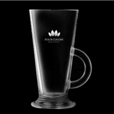 LASER ETCHED LATTE GLASS.