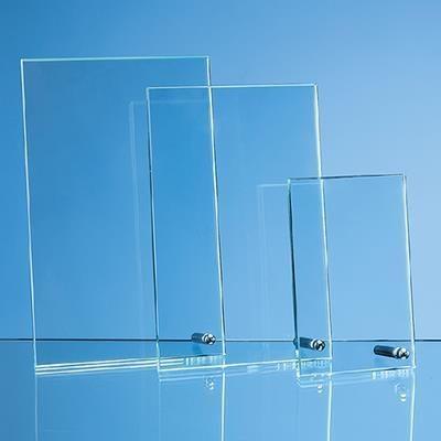 JADE GLASS RECTANGULAR AWARD with Silver Chrome Pin.