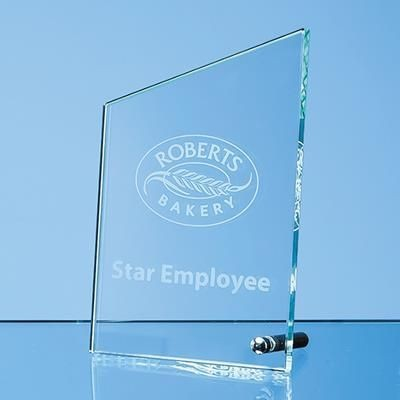 JADE GLASS PEAK TROPHY AWARD with Silver Chrome Pin.