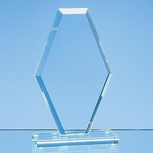 20CM x 12CM x 1CM JADE GLASS BEVELLED EDGE CLIPPED DIAMOND AWARD.
