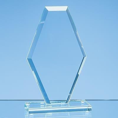 24CM x 15CM x 1CM JADE GLASS BEVELLED EDGE CLIPPED DIAMOND AWARD.