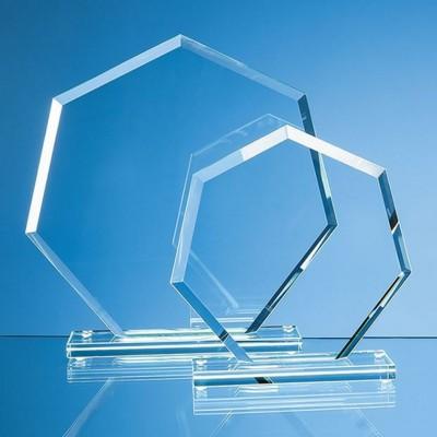 JADE GLASS BEVELLED EDGE HEPTAGON AWARD.