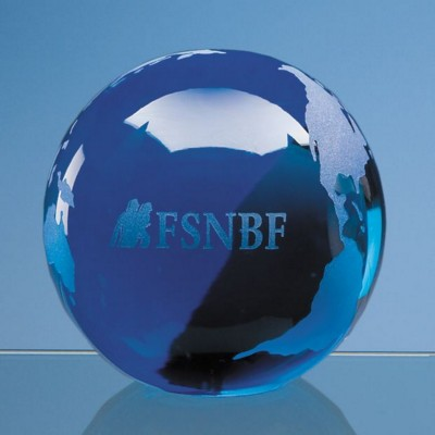 BLUE OCEAN GLASS GLOBE PAPERWEIGHT.