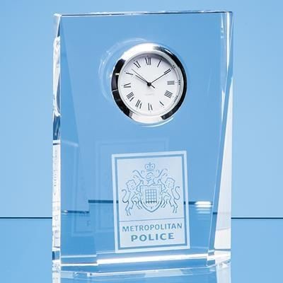 11CM OPTICAL CRYSTAL BEVELLED RECTANGULAR CLOCK.
