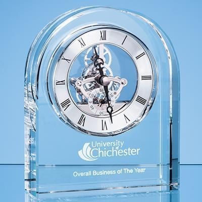 14CM OPTICAL CRYSTAL ARCHED CLOCK.