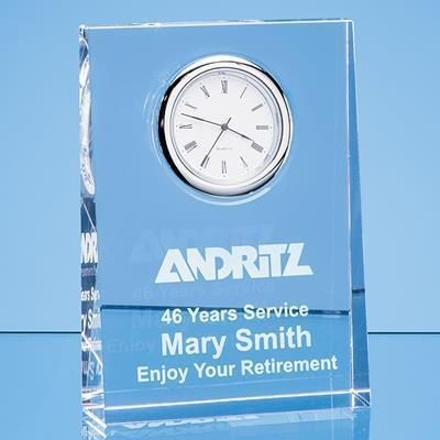 12CM OPTICAL CRYSTAL TAPERED RECTANGULAR CLOCK.