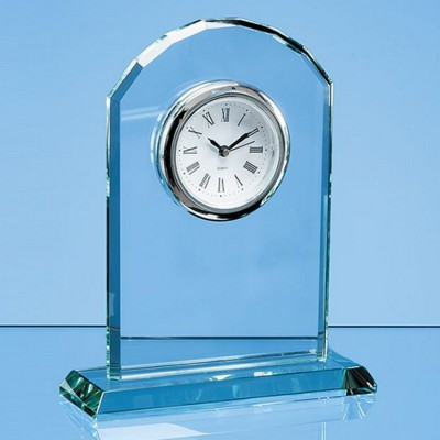 17CM JADE GLASS ARCH CLOCK.