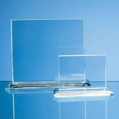 CLEAR TRANSPARENT GLASS HORIZONTAL RECTANGULAR AWARD.