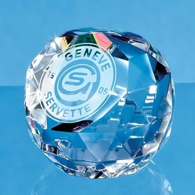 5CM COLOUR OPTICAL GLASS CRYSTAL FACET BALL PAPERWEIGHT.