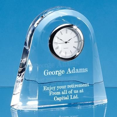 12CM LEAD CRYSTAL DOME CLOCK.
