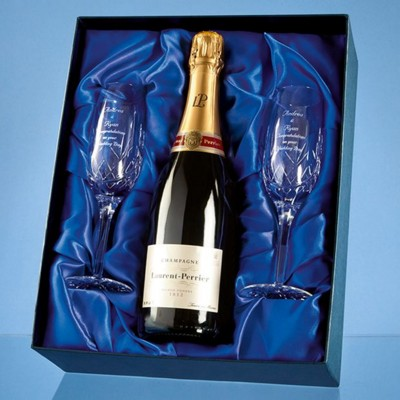 BLENHEIM DOUBLE CHAMPAGNE FLUTE GIFT SET WITH a 75CL BOTTLE OF LAURENT PERRIER CHAMPAGNE.