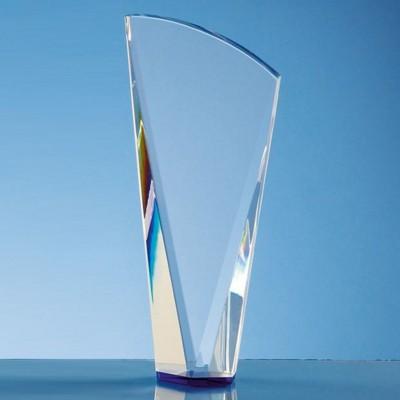 21CM CLEAR TRANSPARENT OPTICAL CRYSTAL FACET SHARD AWARD WITH a SAPPHIRE BLUE BASE.