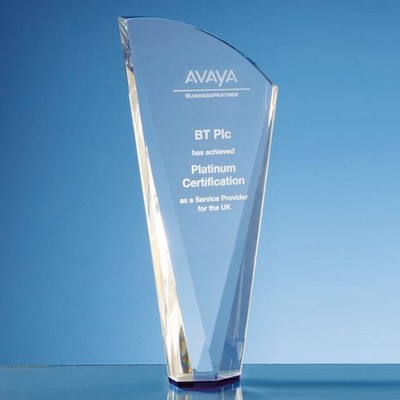 CLEAR TRANSPARENT OPTICAL CRYSTAL FACET SHARD AWARD with a Sapphire Blue Base.