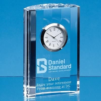 11CM OPTICAL CRYSTAL GLASS SCALLOPED CLOCK.