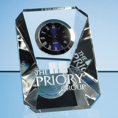 7CM OPTICAL CRYSTAL GLASS WEDGE CLOCK.