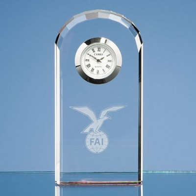 10CM OPTICAL CRYSTAL GLASS BEVELLED ARCH CLOCK.