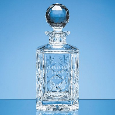 GALLERY LEAD CRYSTAL GLASS PANEL SQUARE SPIRIT DECANTER.