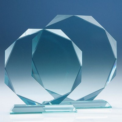 19CM x 19CM x 15MM JADE GLASS FACETTED OCTAGON AWARD.