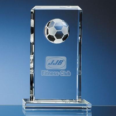 24CM OPTICAL GLASS FOOTBALL RECTANGULAR AWARD.