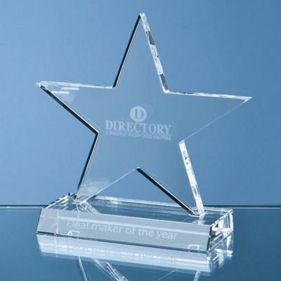 11CM OPTICAL CRYSTAL 5 POINTED STAR ON BASE AWARD.