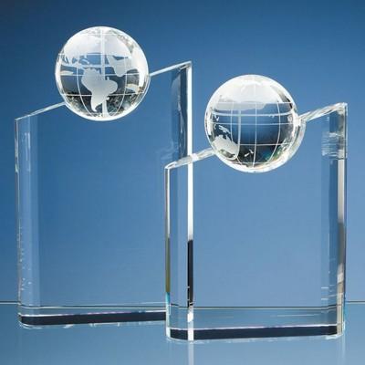 OPTICAL CRYSTAL GLASS GLOBE MOUNTAIN AWARD.