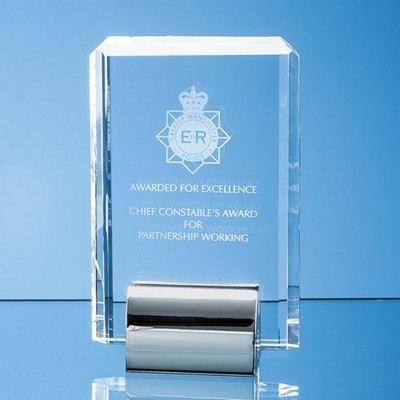 15CM OPTICAL CRYSTAL RECTANGULAR MOUNTED ON a SILVER CHROME STAND.