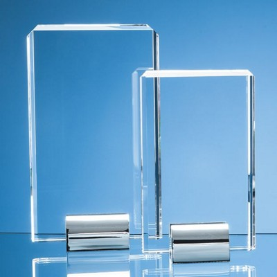 20CM OPTICAL CRYSTAL RECTANGULAR MOUNTED ON a SILVER CHROME STAND.