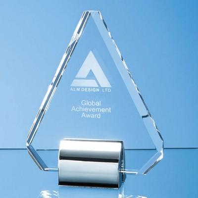 OPTICAL CRYSTAL GLASS DIAMOND AWARD MOUNTED ON SILVER CHROME STAND.